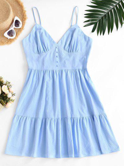 ZAFUL Plus Size Smocked Back Tiered Cami Dress - Light Blue 2xl