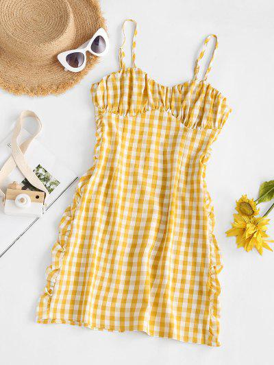 Gingham Ruffled Ruched Cami Bodycon Dress - Yellow L