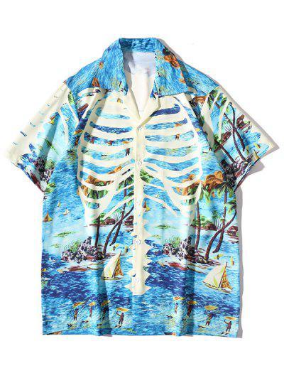 열 대 잎 야자수 하와이 휴가 셔츠 - 딥 스카이 블루 특대