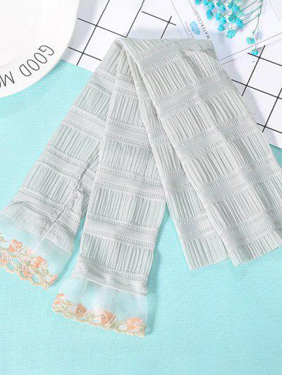Pleated Lace Sunproof Arm Sleeves - Cyan Opaque