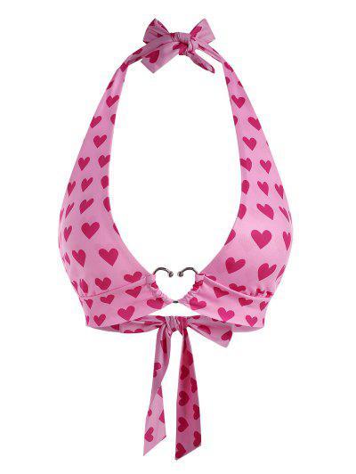 Halter Heart Print Metal Bralette Top - Light Pink