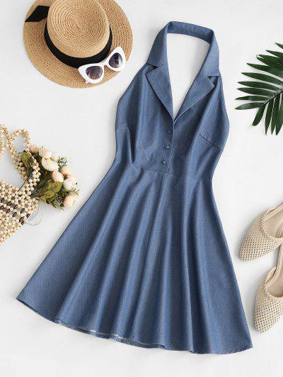 ZAFUL Halter Lapel 80s Backless Chambray Dress - Deep Blue M