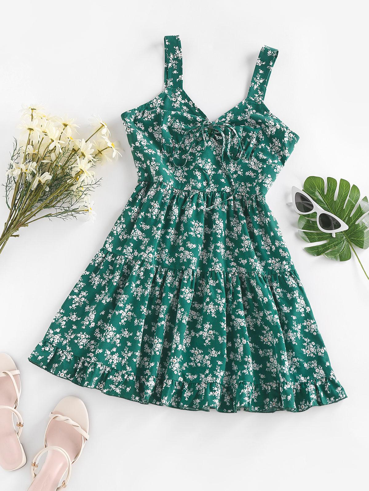 ZAFUL Tiny Flower Printed Flounce Tiered Dress