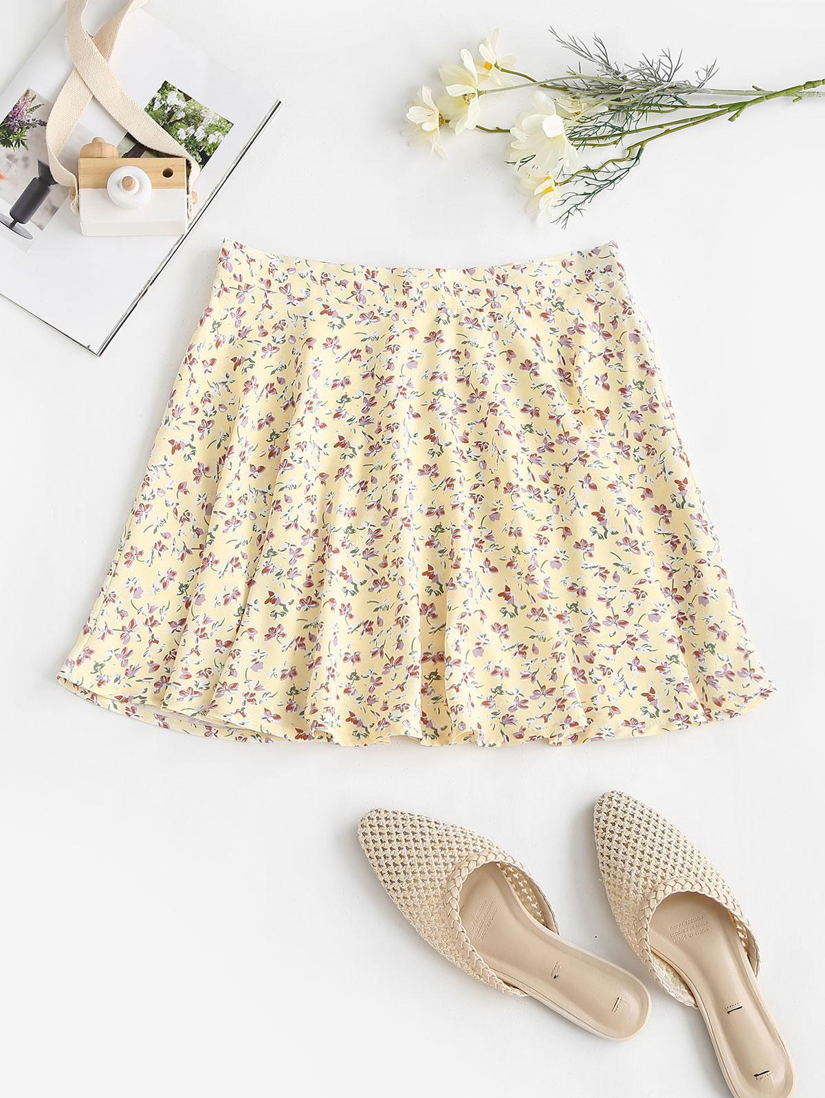 Tiny Floral Swing Mini Skirt