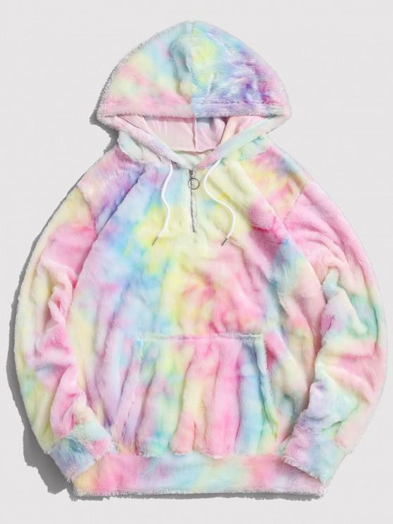 shop Tie Dye Faux Fur Ring Half Zipper Hoodie - MULTI L