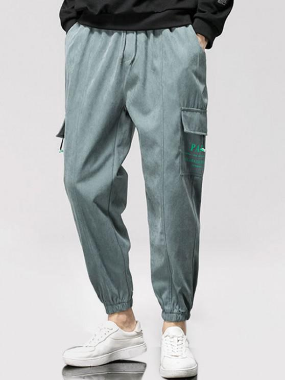 Letter Graphic Print Applique Cargo Pants - اللون الرمادي L