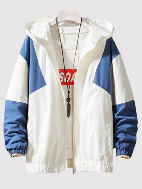 Hooded Contrast Zip Up Jacket - الحرير الأزرق M