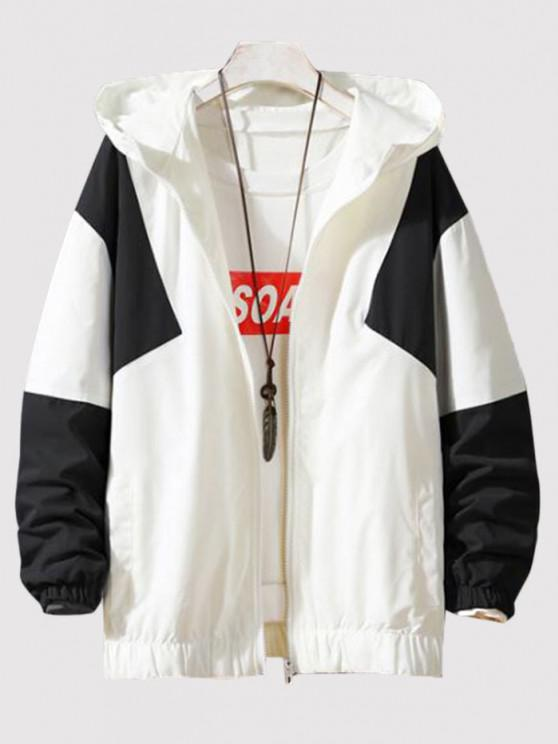 women's Hooded Contrast Zip Up Jacket - WHITE M