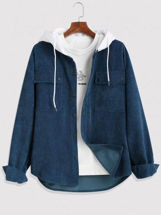 Colorblock Hooded Corduroy Shirt Jacket - ازرق غامق 2XL