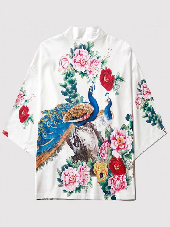 fancy Flower Peacock Print Chinoiserie Kimono Cardigan - MILK WHITE 2XL