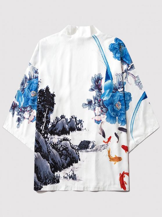unique Flower Mountain Paint Print Chinoiserie Kimono Cardigan - MILK WHITE L