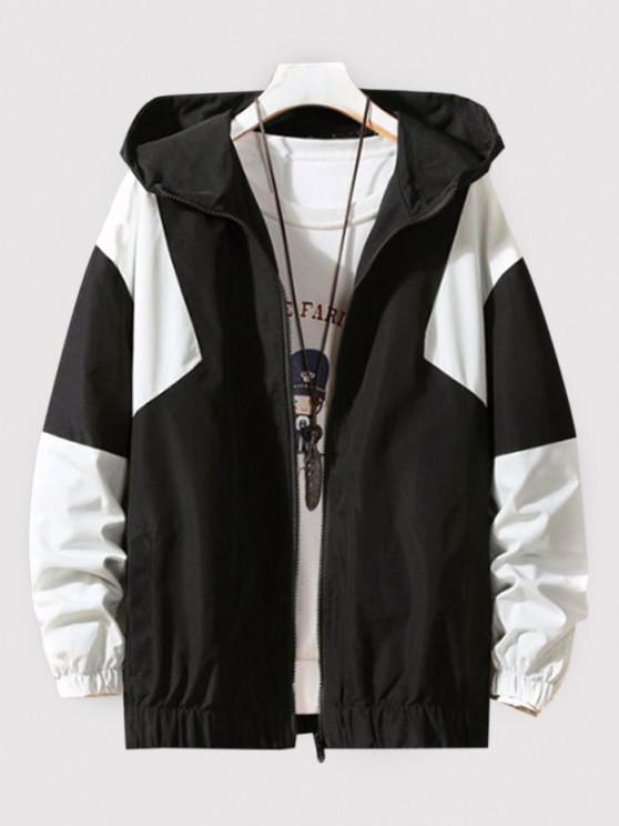 lady Hooded Contrast Zip Up Jacket - BLACK L