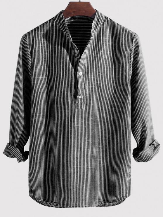 outfit Striped Print Half Button Kurta Long Sleeve Shirt - GRAY 4XL