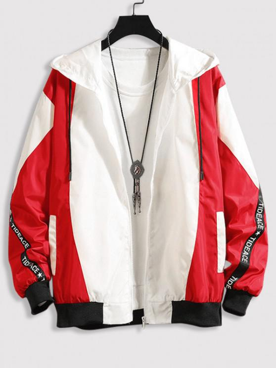 women's Hooded Letter Tape Contrast Jacket - RED S