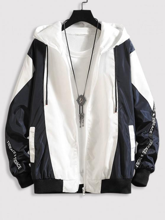 Hooded Letter Tape Contrast Jacket - منتصف الليل الأزرق XL