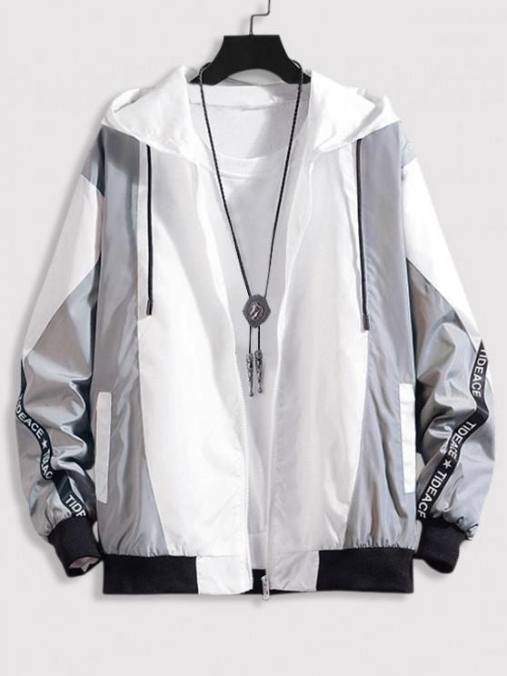 Hooded Letter Tape Contrast Jacket - اللون الرمادي 2XL