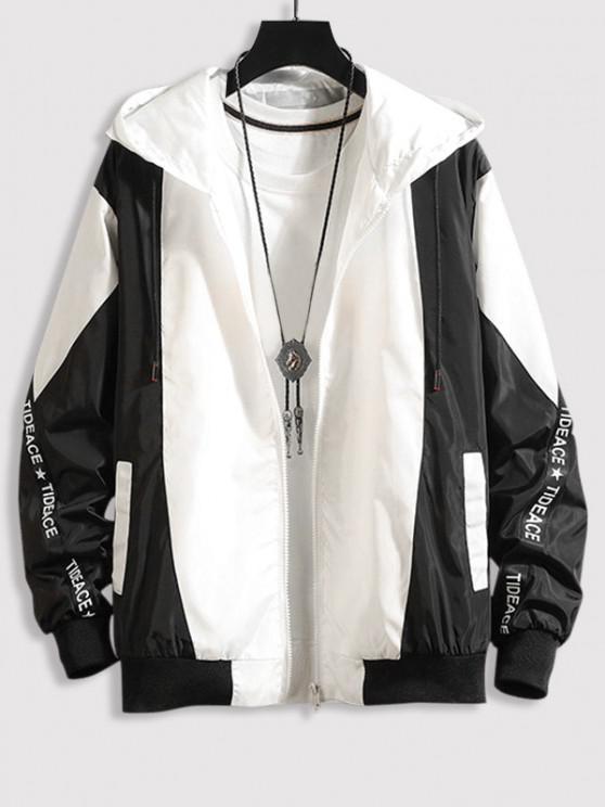 online Hooded Letter Tape Contrast Jacket - BLACK XL