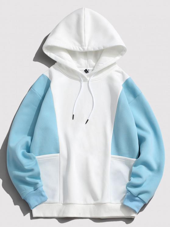 ZAFUL Contrast Double Pockets Fleece Hoodie - أزرق فاتح L