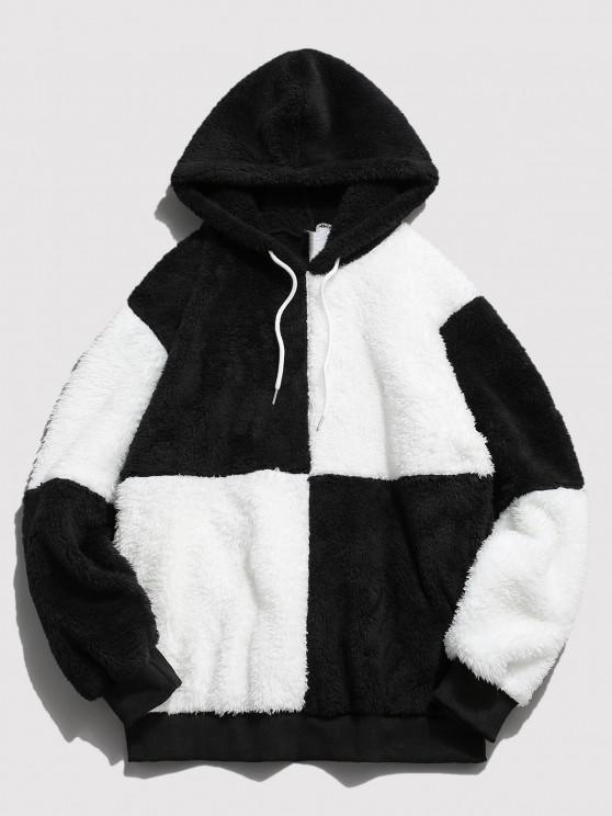 ZAFUL Drawstring Contrast Faux Fur Fluffy Hoodie - أبيض L