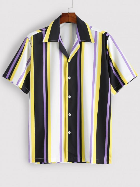 women's Striped Colorful Printed Short Sleeves Shirt - YELLOW S