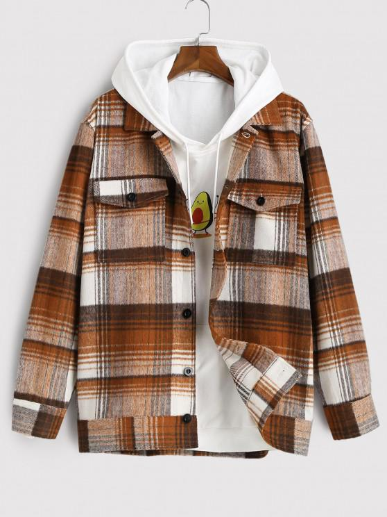 womens Flap Pocket Plaid Jacket - DEEP COFFEE XL