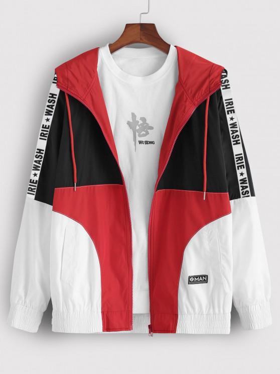 Colorblock Panel Letter Patch Hooded Jacket - متعدد M