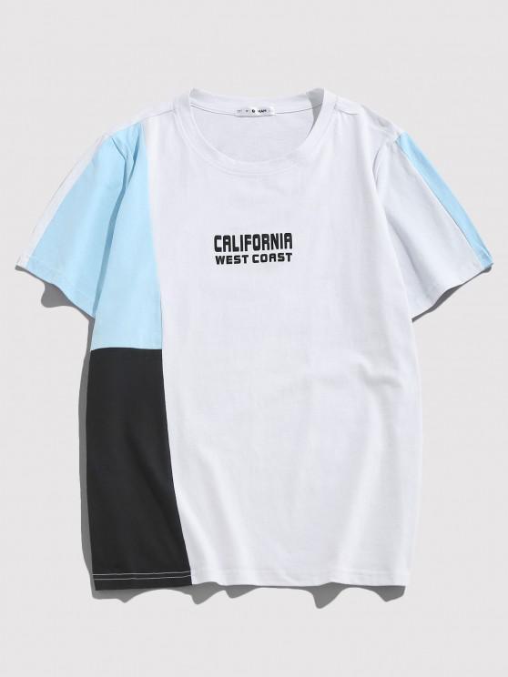 ZAFUL Perfurado T-shirt Especial de Emagrecimento Emenda de Mangas Curtas de Gola Dobradiça para Homens - Multi S