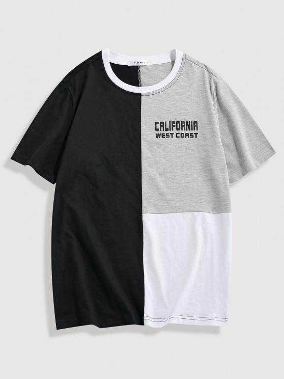 ZAFUL CALIFORNIA WEST COAST Colorblock Panel T-shirt - متعدد L