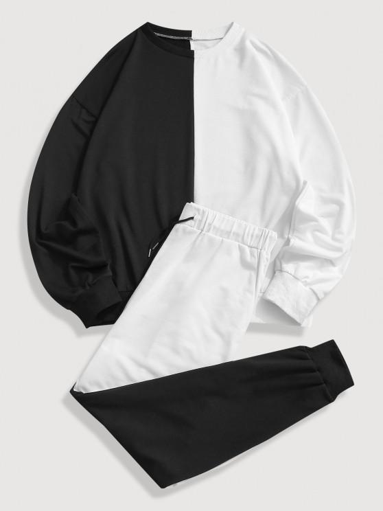 Two Tone Sweatshirt And Pants Two Piece Set - أسود L