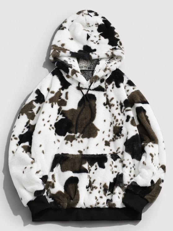 ZAFUL Animal Pattern Faux Fur Fluffy Hoodie - أبيض S