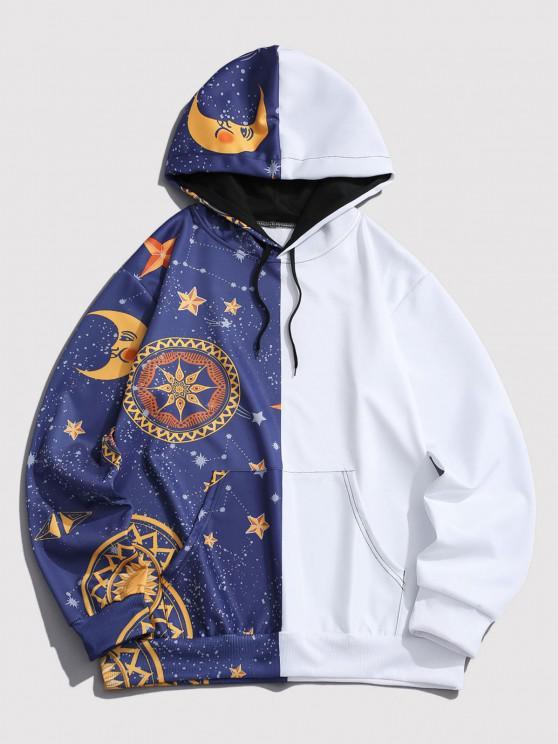 Kangaroo Pocket Moon Star Print Contrast Hoodie - أزرق XL