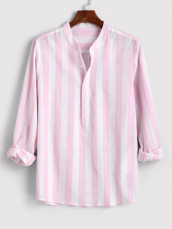 women's Color Blocking Stripes Half Button Shirt - LIGHT PINK L