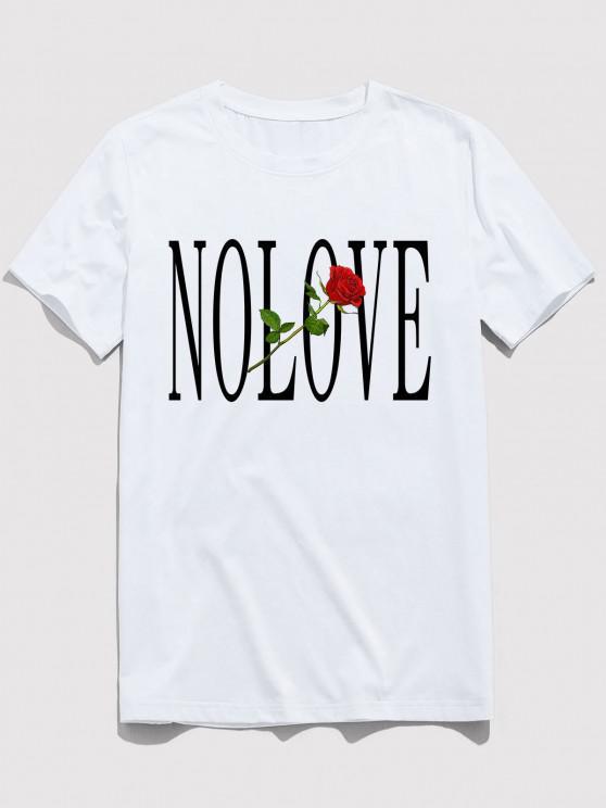 ZAFUL Flor de Carta Impressão Mangas Curtas T-shirt - Branco M
