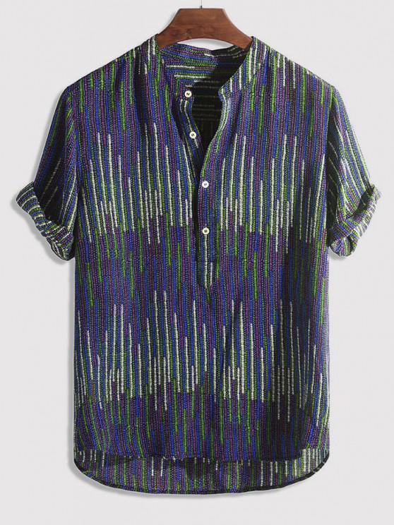 trendy Half Button Striped Print High Low Shirt - MULTI-C 2XL