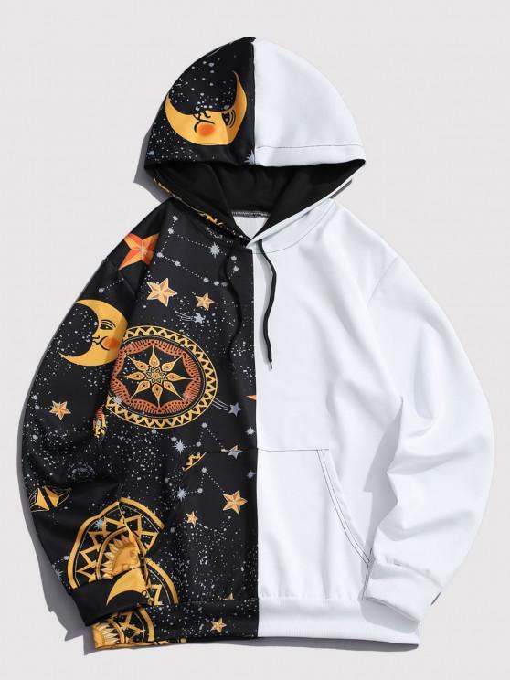 fashion Kangaroo Pocket Moon Star Print Contrast Hoodie - YELLOW 2XL