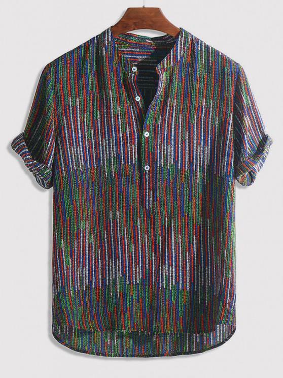 hot Half Button Striped Print High Low Shirt - MULTI-B L