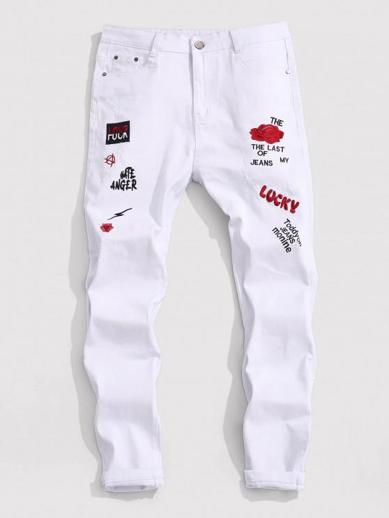 Floral Letter Embroidery Zipper Fly Casual Pencil Jeans - أبيض 40