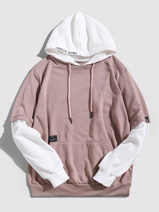 affordable Contrast Faux Twinset Letter Embroidery Drawstring Hoodie - PINK ROSE S