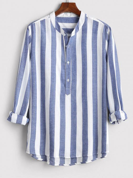 Color Blocking Stripes Half Button Shirt - أزرق XL