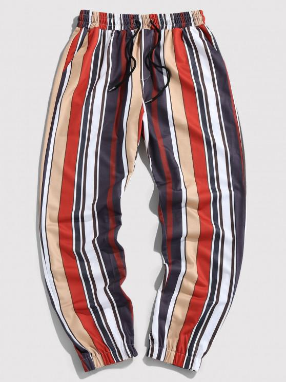 hot Contrast Stripes Print Elastic Waist Pants - MULTI S