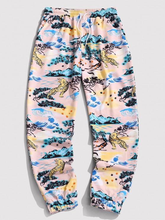 ZAFUL Tiger Landscape Print Chinoiserie Jogger Pants - القهوة الخفيفة XL