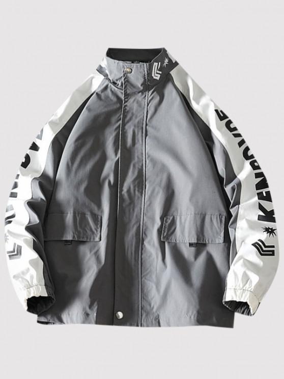 Letter Print Raglan Sleeve Zip Up Jacket - الرمادي الداكن M