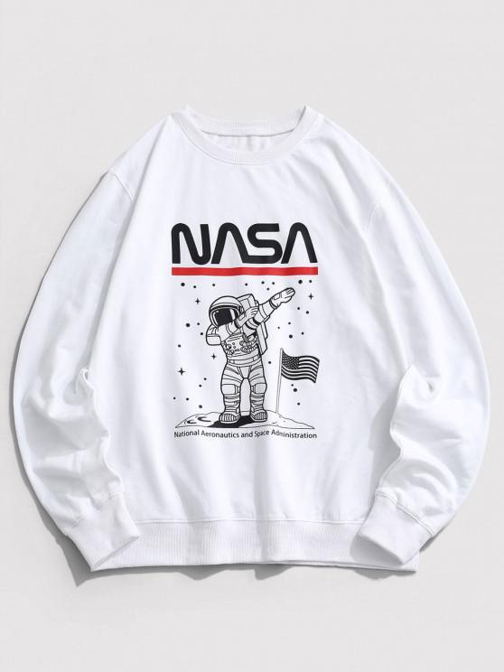 Sweat-shirt Astronaute Graphique Drapeau Américain à Col Rond - Blanc L
