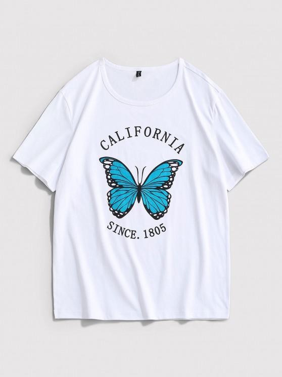 fancy California Butterfly Print Short Sleeve T-shirt - WHITE XL
