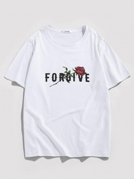 ZAFUL Forgive Rose Short Sleeve Basic T-shirt - أبيض M