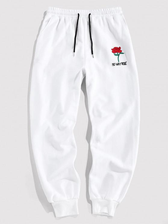 best ZAFUL Rose Graphic Jogger Pencil Pants - WHITE S