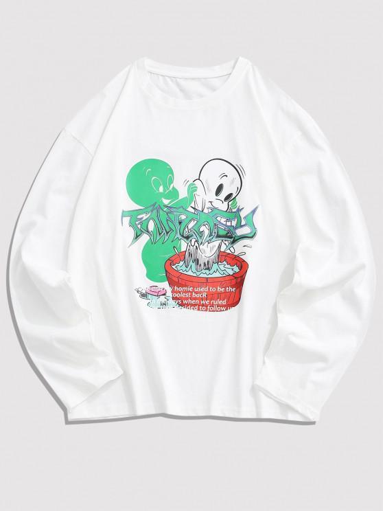 Long Sleeve Cartoon Graphic T Shirt - أبيض M