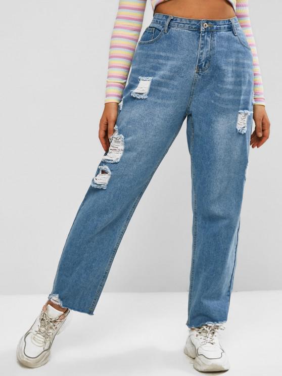 Plus Size Ripped Raw Hem Light Wash Jeans - أزرق L