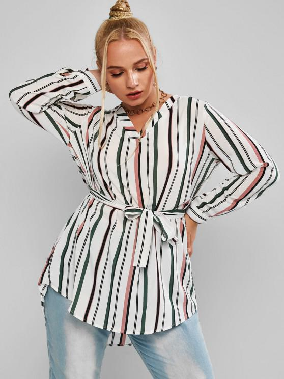 women Plus Size Striped High Low Belted Round Hem Blouse - MULTI 2XL