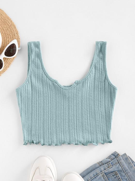 trendy ZAFUL Lettuce Trim Notched Knitted Crop Top - LIGHT BLUE S
